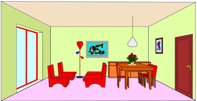 Risposte ai Tag – Stanza arredata – soggiorno  disegnare da adulti